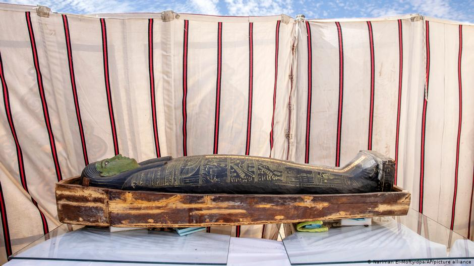A beautifully decorated coffin on display during the official reveal. Credit: Khaled Desouki
