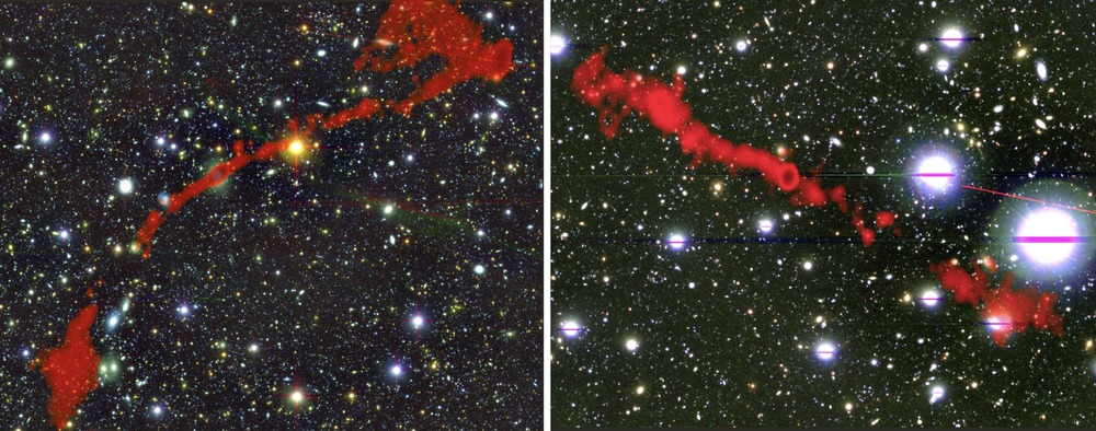 Composite images of two new giant radio galaxies, combining optical and radio observations. On the left you can see giant radio galaxy MGTC J095959.63+024608.6 and on the right MGTC J100016.84+015133.0. Credit: I. Heywood, University of Oxford / Rhodes University / South African Radio Astronomy Observatory / CC BY 4.0.