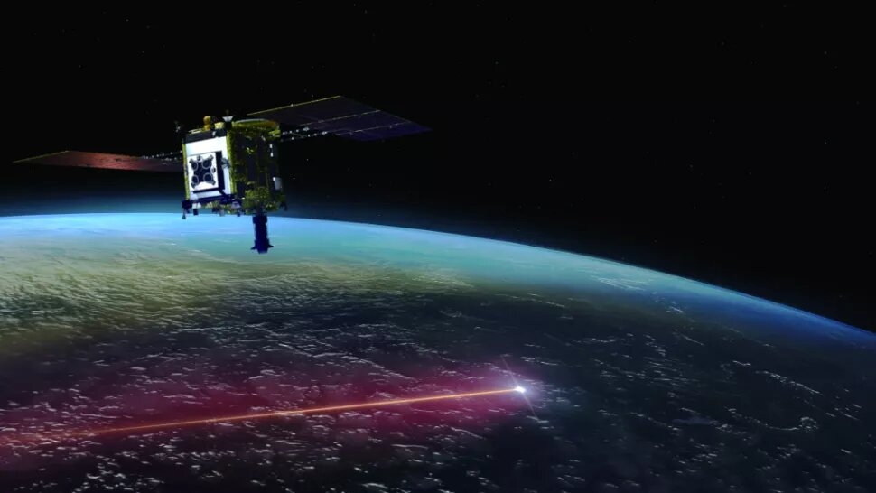 Artistic take on Hayabusa2 as it released the capsule full of soil samples into Earth's atmosphere in December. Credit: JAXA