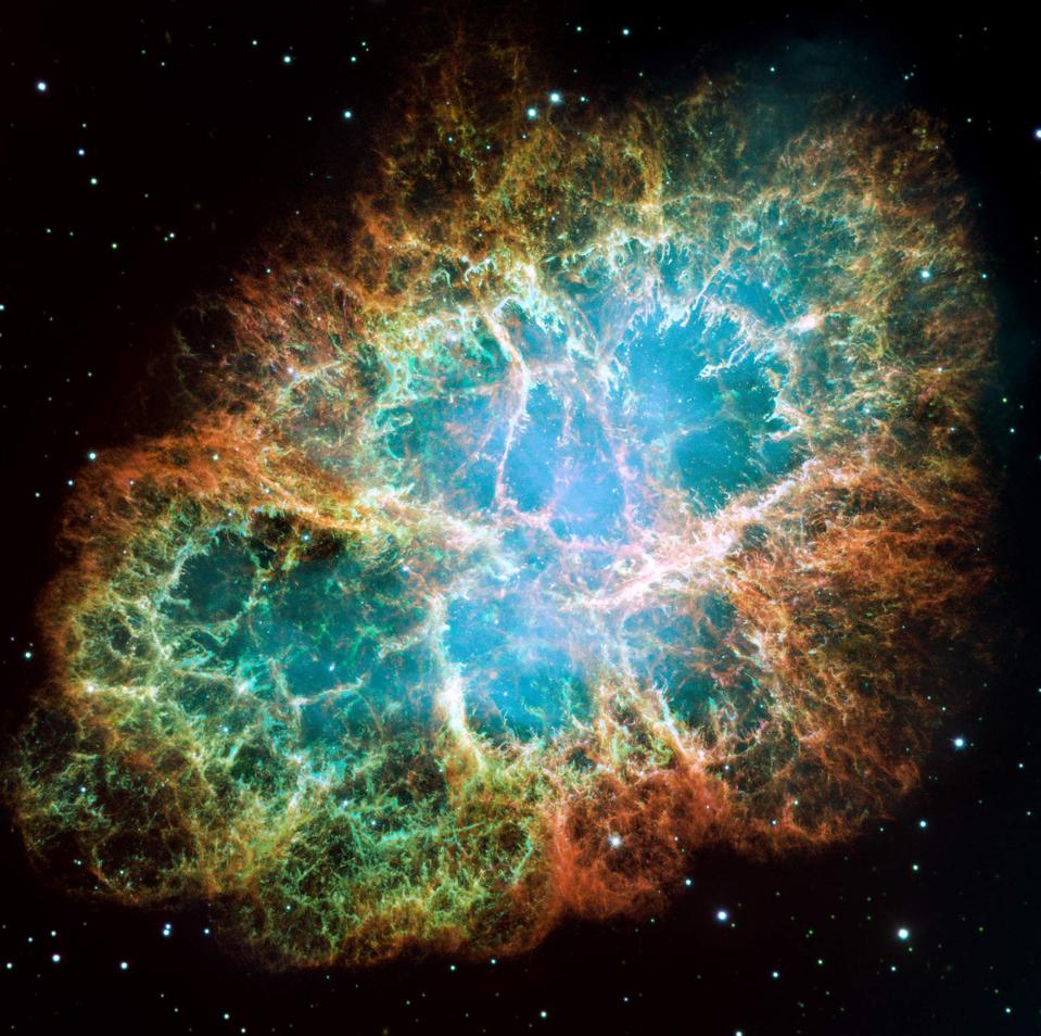 The Crab Nebula, a supernova remnant captured by the Hubble Space Telescope. Credit: NASA, ESA, J. Hester and A. Loll (Arizona State University)