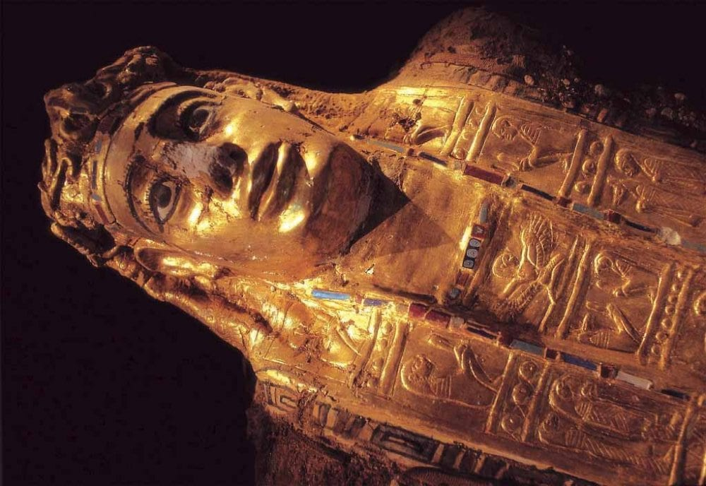 One of the golden mummies discovered in the tombs. You can see the craftsmanship and how realistic they look in comparison with the more ancient mummies from before the Greco-Roman period. Credit: Dr. Zahi Hawass