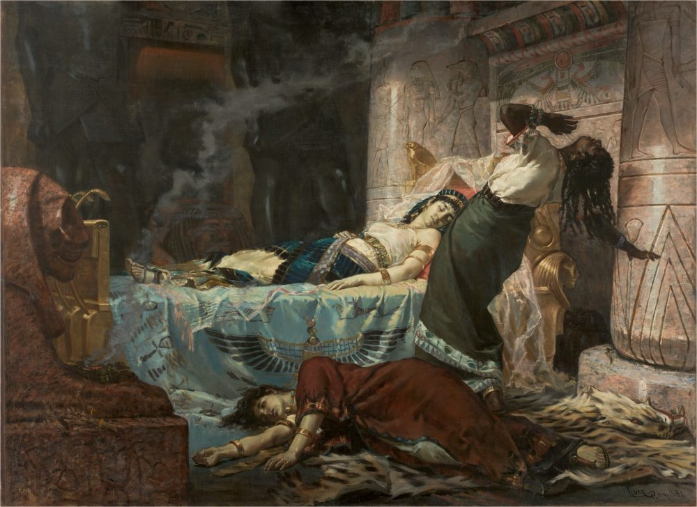 """""""The Death of Cleopatra"""", a 1881 painting by Juan Luna. We can safely say that her death was a result of the disastrous game of propaganda between Octavian and Mark Antony. Credit: Wikimedia Commons"""