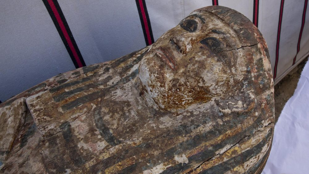 One of the many ancient coffins unearthed in the latest archaeological discovery in Saqqara. Credit: Khaled DESOUKI