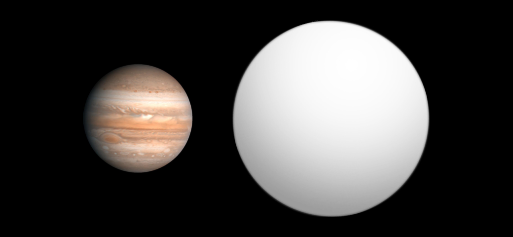 Size comparison between Jupiter and GQ Lupi b. Credit: Open Exoplanet Catalogue