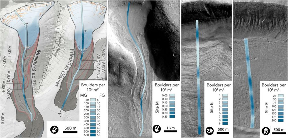 This image shows a comparison between the densities of surface boulders from two glaciers on Earth (on the left - Mullins and Friedman) and three glaciers on Mars. Credit: Joe Levy/Colgate University
