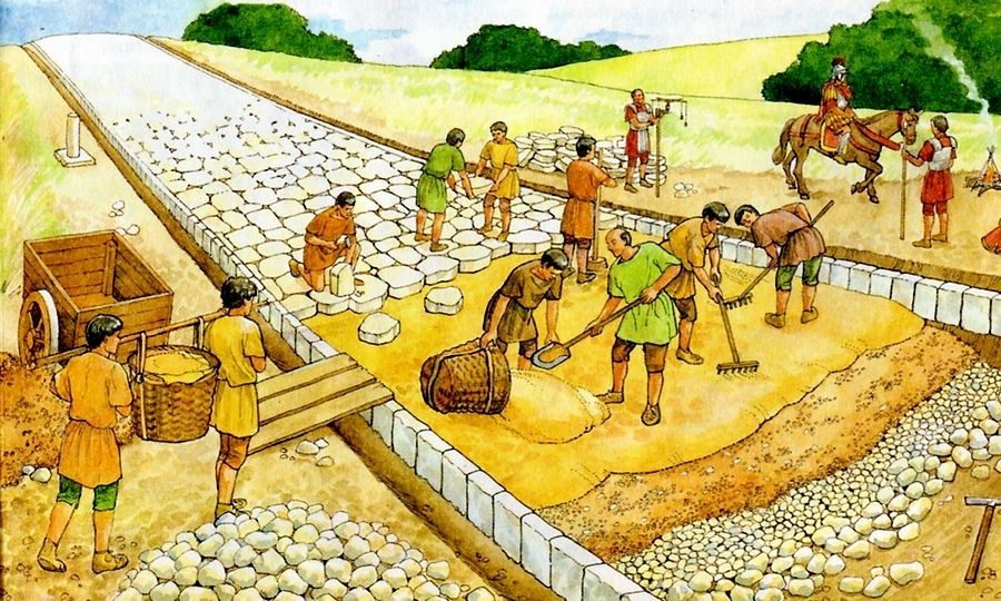 In this illustration we also see a Roman surveyor using a Groma in the back during road construction. Credit: Pikabu