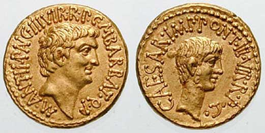 """Roman aurei with the figures of Mark Antony (left) and Guy Octavian (right), carved in 43 BC. in honor of the conclusion of the Second Triumvirate. On each of them is engraved the inscription """"III VIR RP C"""", which means """"One of the three men ruling the Republic"""". Credit: Wikimedia Commons"""