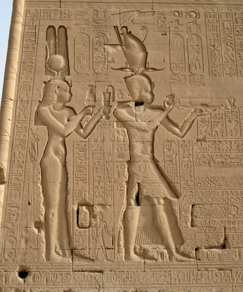 Cleopatra and Caesarion. Reliefs from the temple in Dendera. Credit: Britannica