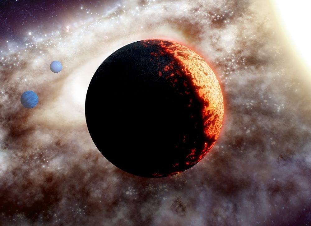An artist's take on the planetary system TOI-561 which hosts the newly discovered Super-Earth. Credit: W. M. Keck Observatory/Adam Makarenko