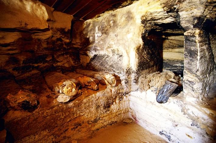 Mummies in one of the tomb. In some cases, there were entire families or loved ones buried together. Credit: Dr. Zahi Hawass