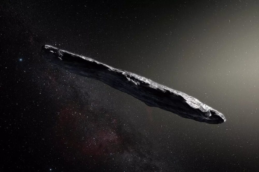 Here is an artistic take on how Oumuamua may look like. Credit: K. Meech et al./ESO