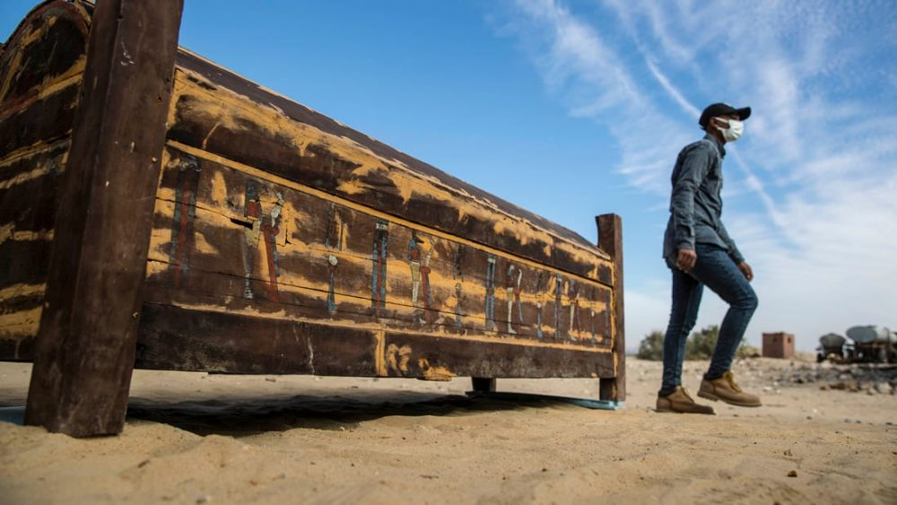 This massive wooden sarcophagus was put on display during the official reveal of the finds at Saqqara. Credit: Khaled DESOUKI
