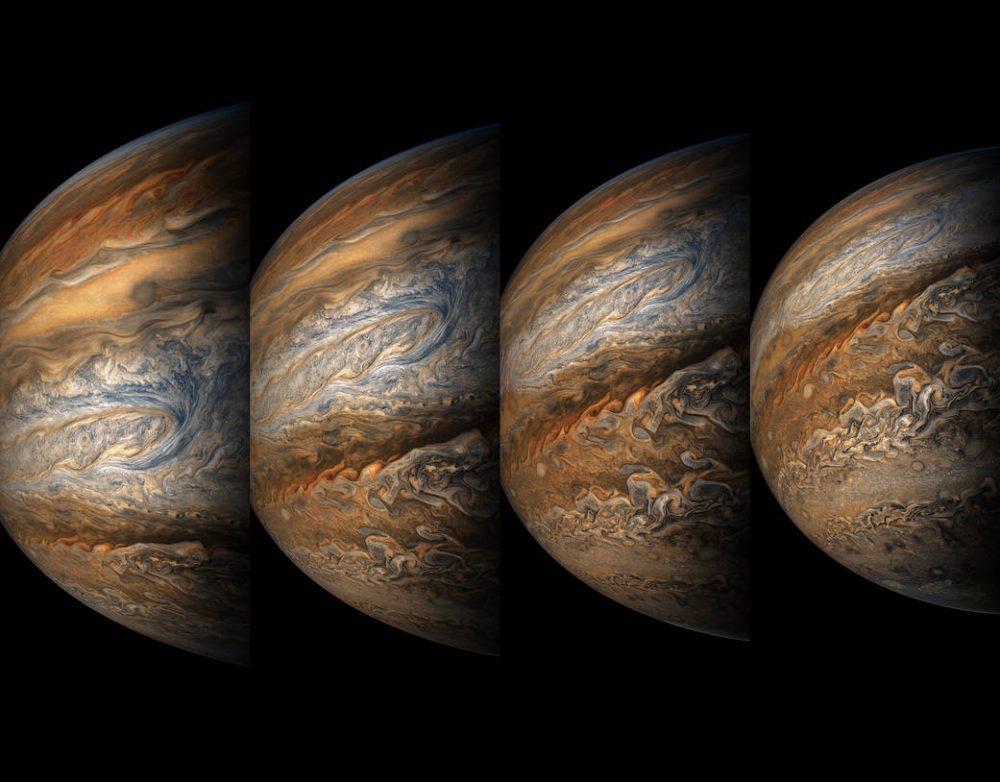 Color-enhanced images of Jupiter by the Juno Mission. Credit: NASA/JPL-Caltech/SwRI/MSSS/Gerald Eichstädt/Sean Doran