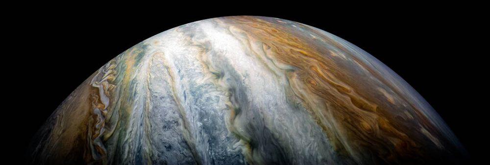 Swirling cloud belts in the southern hemisphere. Credit: NASA/JPL-Caltech/SwRI/MSSS/Kevin M. Gill