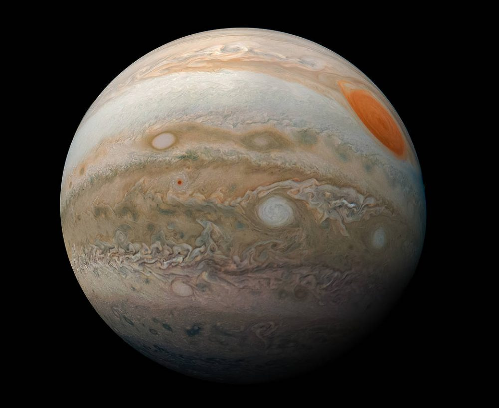 Jupiter's southern hemisphere and the Great Red Spot. Credit: NASA/JPL-Caltech/SwRI/MSSS/Kevin M. Gill
