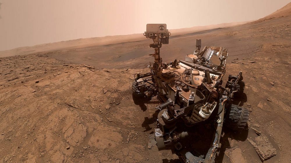 The Curiosity rover on the surface of Mars. Credit: NASA/JPL-Caltech/MSSS