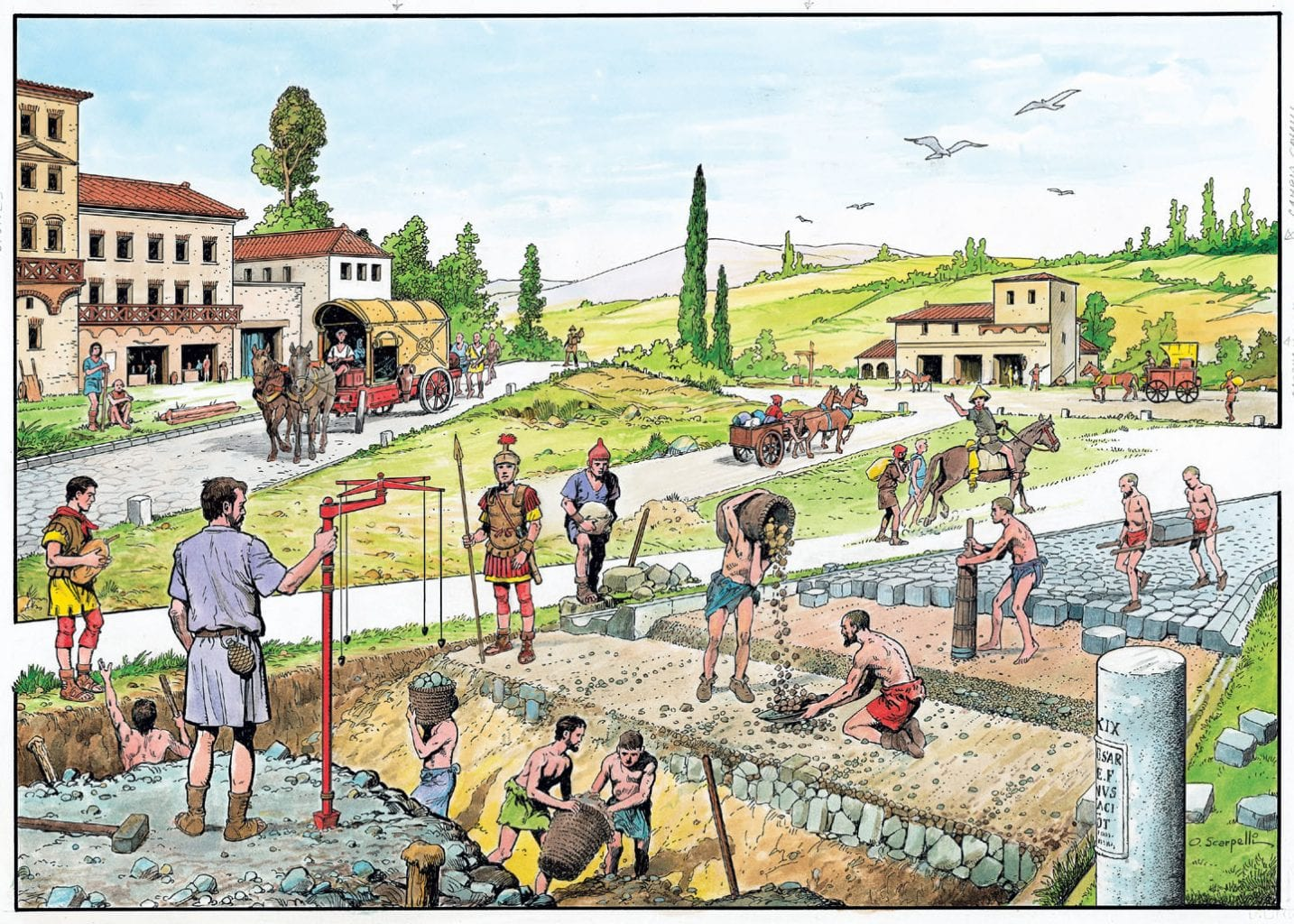 The different stages of ancient Roman road construction. Credit: Pikabu
