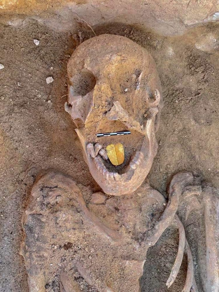 Archaeologists unearthed this mummy with a golden tongue, presumably placed to aid the deceased in the afterlife. Credit: Egyptian Ministry of Tourism and Antiquities