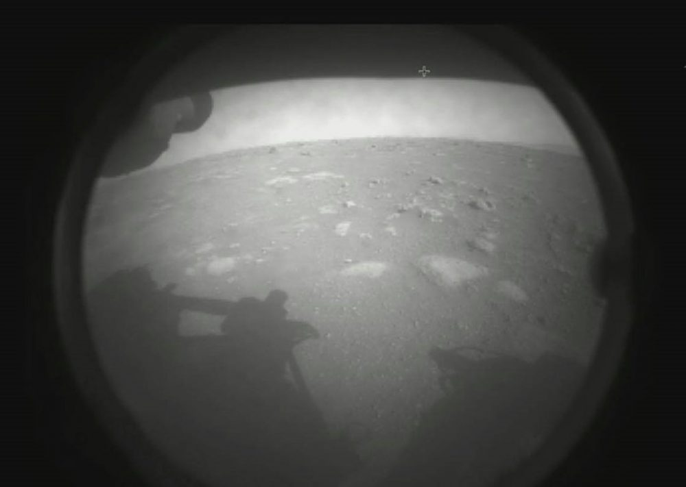 Transmitted minutes after the landing, this was the first low-resolution image we saw from the mission. Credit: NASA/JPL-Caltech
