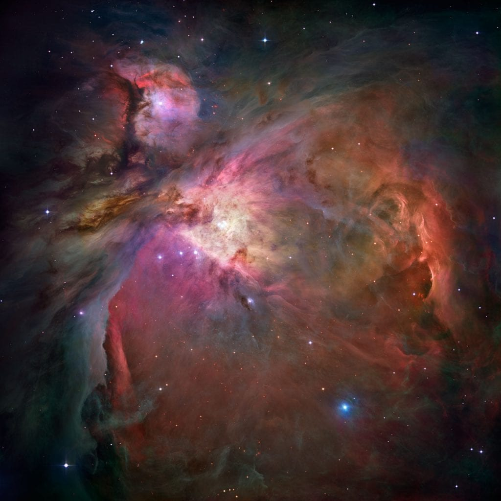 Hubble image of the stunning Orion Nebula which is located 1,500 light-years away from Earth. Credit: NASA,ESA, M. Robberto (Space Telescope Science Institute/ESA) and the Hubble Space Telescope Orion Treasury Project Team KEYWORDS