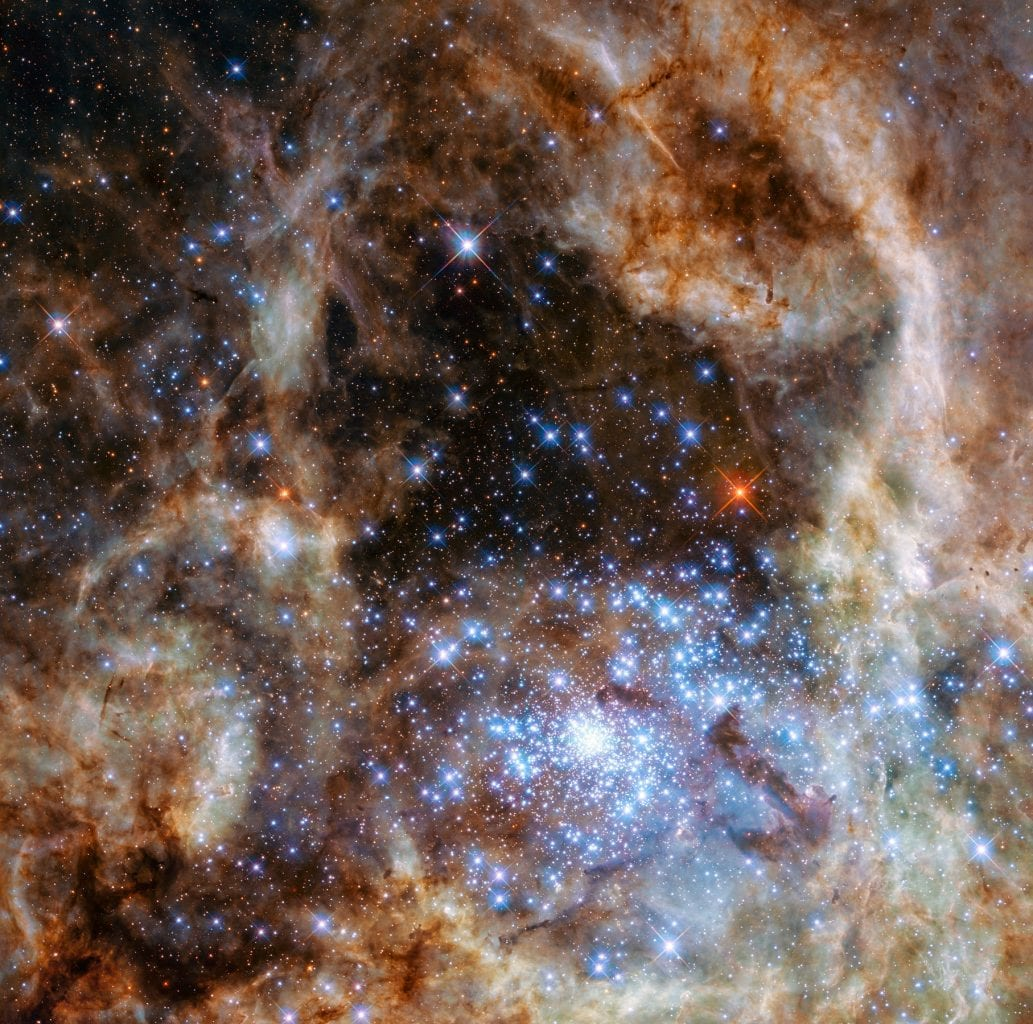 This Hubble image shows the central region of the Tarantula Nebula, located in the Large Magellanic Cloud. Credit: NASA, ESA, and P. Crowther (University of Sheffield)