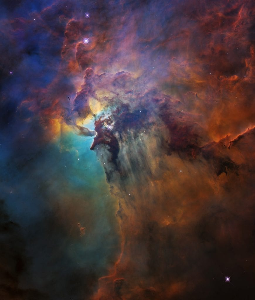 This Hubble image shows the powerful ultraviolet radiation of a monster young star located in the Lagoon Nebula. Credit: NASA, ESA, and STScI