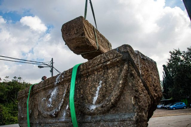 The two ancient Roman sarcophagi were originally discovered 25 years ago but remained hidden until recently. Credit: Yoli Schwartz, Israel Antiquities Authority