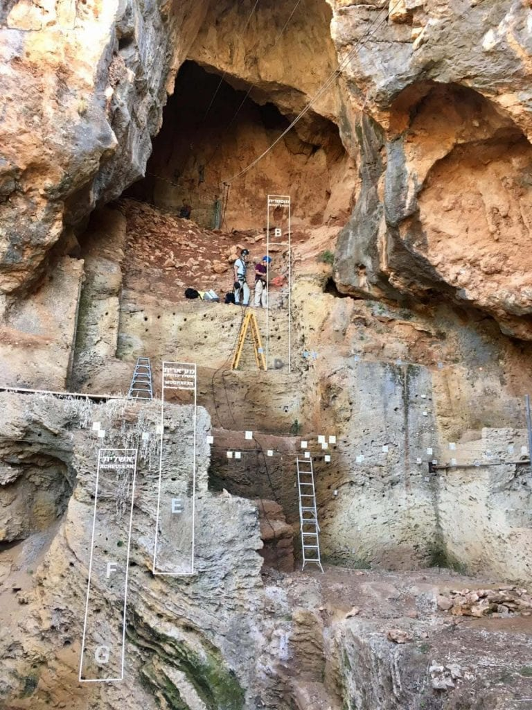 Archaeologists during excavations at the Tabun Cave. Credit: University of Haifa