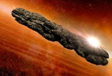 An artist's take on the appearance of Oumuamua based on the scientific observations from 2017. Credit: Habbick Visions/Science Photo Library