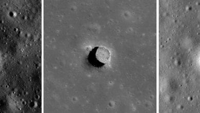 Lunar Reconnaissance Orbiter images of the Marius Hills sinkhole on the Moon. Credit: NASA / GSFC / Arizona State University