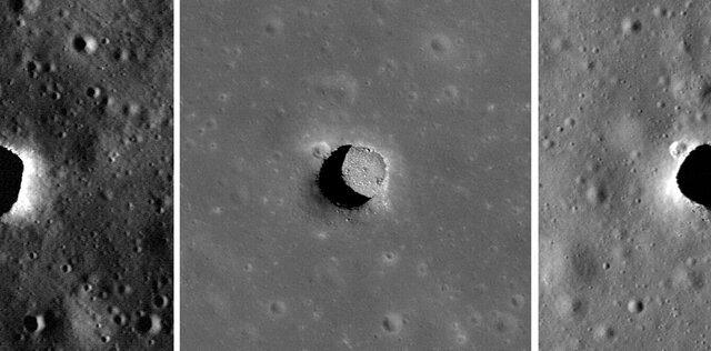 Lunar Reconnaissance Orbiter images of the Marius Hills sinkhole on the Moon. Credit: NASA / GSFC / Arizona State University