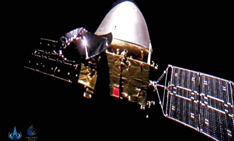 Image of China's Tianwen-1 spacecraft taken by one of its cameras in space. Credit: CNSA