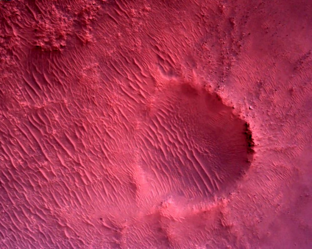 An image of the Martian surface taken by the Rover Down-Loon Camera which is mounted on the bottom of Perseverance. Credit: NASA/JPL-Caltech