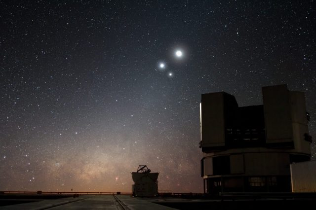 Jupiter, Saturn, and Mercury will form a similar conjunction in the morning sky for four consecutive days. The one you see on the image is of Venus, Jupiter and the Moon over ESO's Very Large Telescope. Credit: ESO/Y.BELETSKY