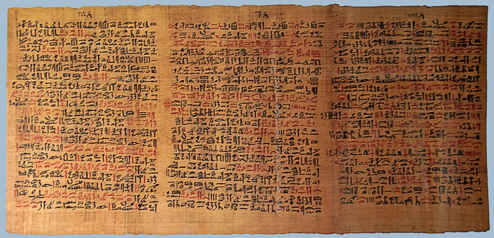 The Ebers papyrus is the oldest Egyptian medical book, dated to around 3500 years ago. On several occasions, cannabis is mentioned as a remedy for various health issues. Credit: Ancient Code