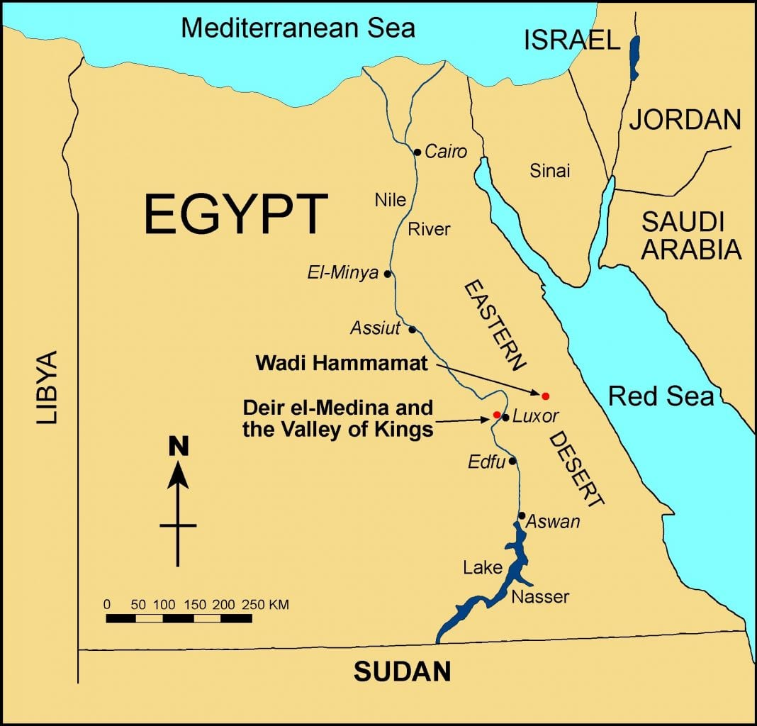 Map of Egypt showing the locations of Deir el-Medina, Wadi Hammamat, and the Valley of the Kings. Credit: James A. Harrell