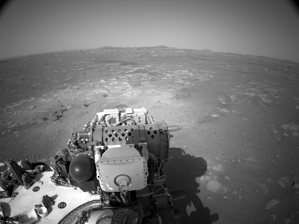 One of the new raw images taken by the Right Navigation Camera of Perseverance. Credit: NASA/JPL-Caltech