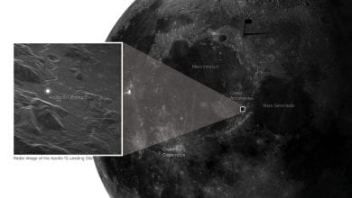 The exact location of the Apollo 15 landing site shown on the brand new image of the Moon. Credit: Sophia Dagnello, NRAO/GBO/Raytheon/AUI/NSF/USGS