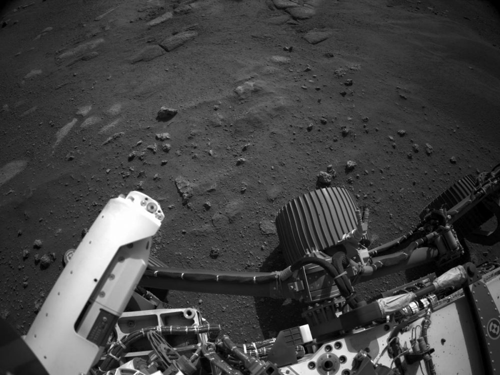 A shot of the surface of Mars including part of the Perseverance rover taken by the Right Navigation Camera. Credit: NASA/JPL-Caltech