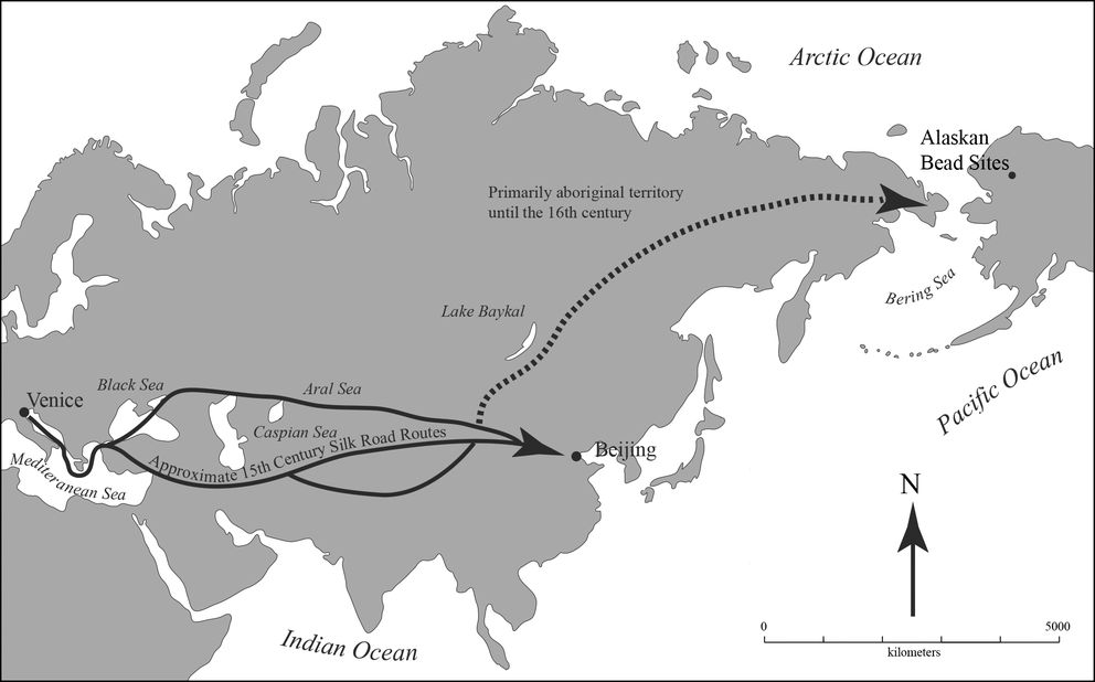 Travel route of Venetian beads to America. Credit: American Antiquity