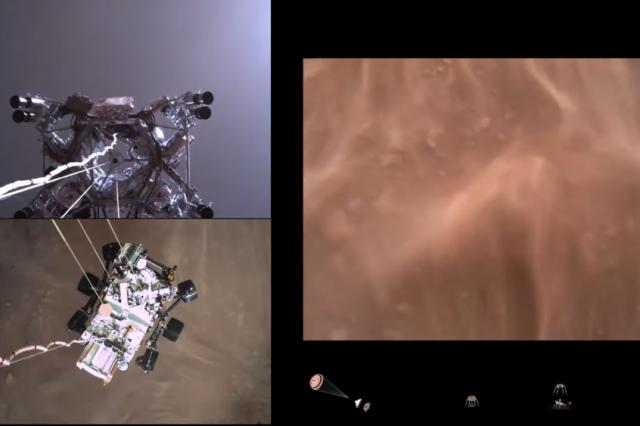 Screenshot from NASA's video of Perseverance landing on Mars. Credit: NASA