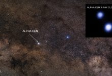 The location of Alpha Centauri marked by an arrow. Image Credit: Image credit: Optical: Zdenek Bardon; X-ray: NASA/CXC/Univ. of Colorado/T. Ayres et al.