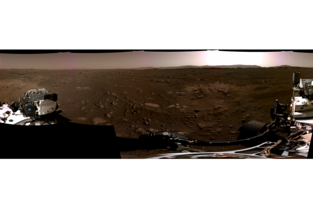 The first 360-degrees panorama image taken by the Perseverance rover or more particularly, by the Navigation Cameras. Credit: NASA/JPL-Caltech