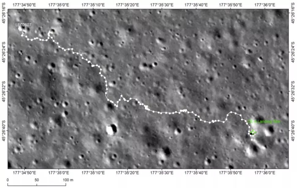 This image shows the path of the Yutu-2 rover in the past two years. Credit: CNSA