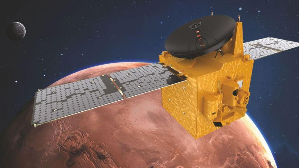 Artist's impression of UAE's Hope Mars Orbiter that should reach orbit within hours. Credit: MBRSC