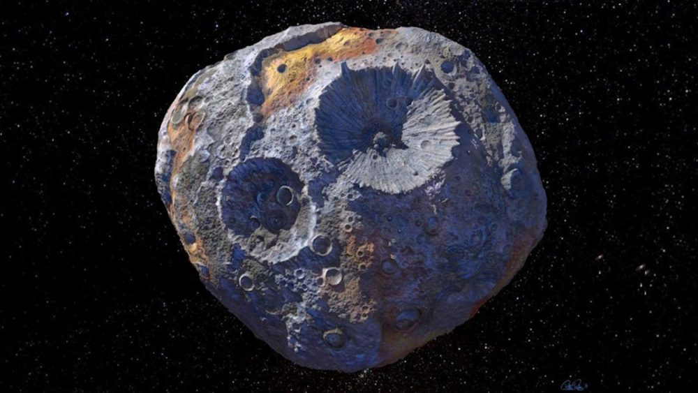 The asteroid Psyche and two impact craters on its surface as seen by the artist. Credit: Maxar/ASU/P. Rubin/NASA/JPL-Caltech