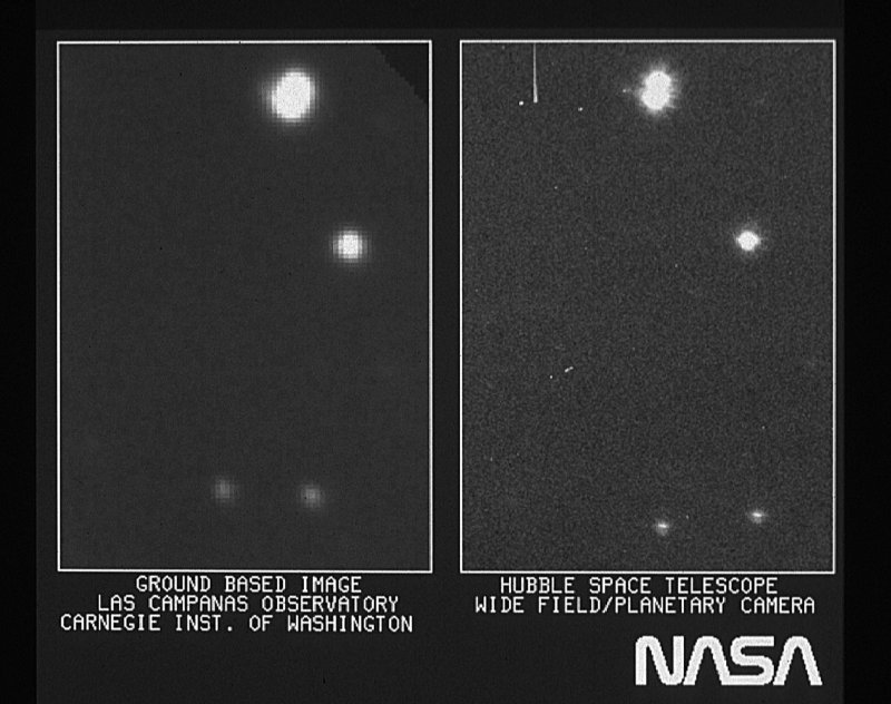 Left: Aerial photo of the star HD96755. Right - A photo taken by the Hubble Space Telescope. Credits: Left: E. Persson (Las Campanas Observatory, Chile) / Observatories of the Carnegie Institution of Washington; Right: NASA, ESA and STScI
