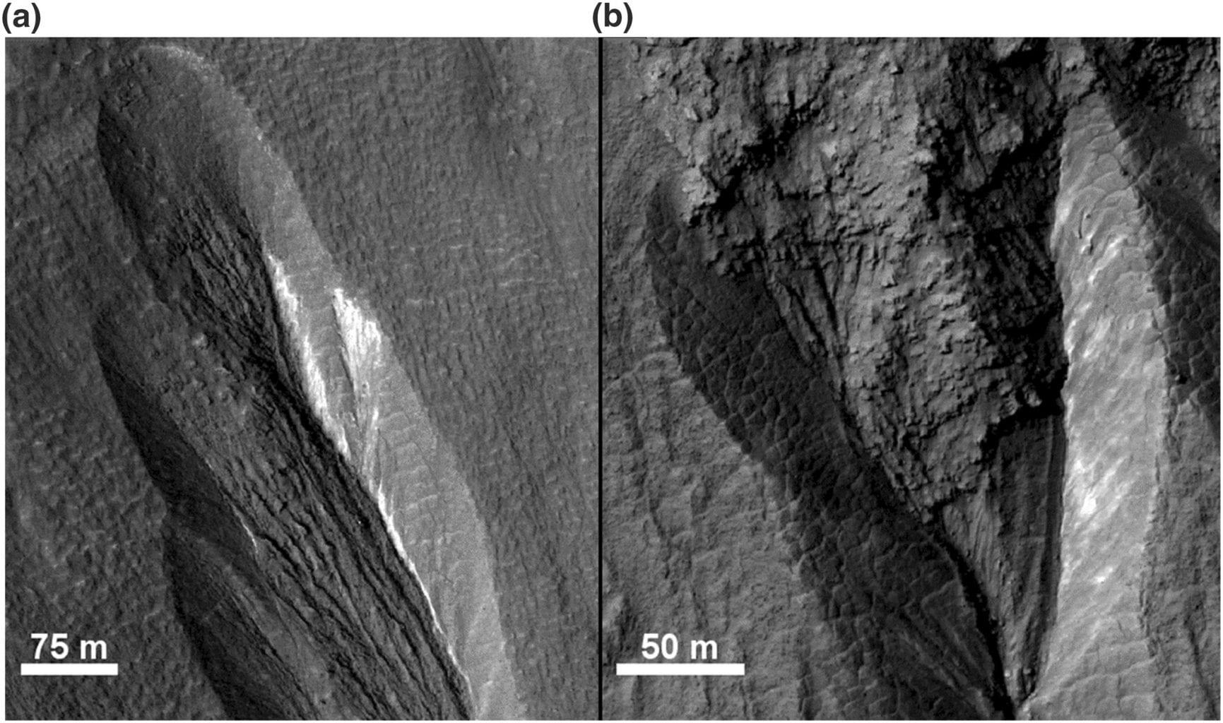 Partially exposed light-toned deposits. Credit: NASA/JPL/University of Arizona