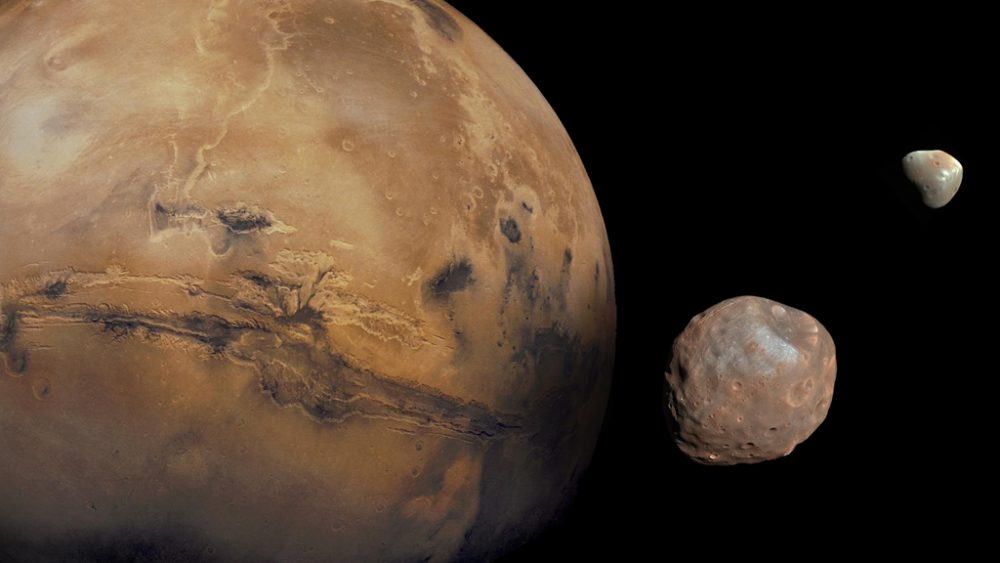 Artist's illustration of Mars with its moons Phobos (middle) and Deimos (left). Scientists believe that the two moons originated from a common celestial body. Credit: NASA/JPL-Caltech/University of Arizona