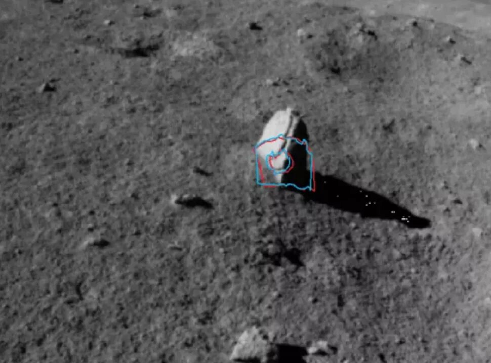 Here is a closer view of the elongated rock from the surface of the Moon. Further analysis will be needed to give a better understanding of the origin of the stone. Credit: CNSA
